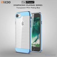 SLICOO TPU-cover med forgyldt ramme & børstet overflade til iPhone 7  Blå