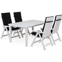 Cortland Brasilia matgrupp med Futura bord - 4 stolar Vit
