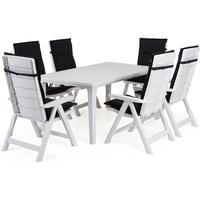 Cortland Brasilia matgrupp med Futura bord - 6 stolar Vit
