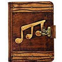 A Little Present Triple Musique Décoration vintage Étui avec clavier couverture rigide en cuir marron Serrure pour Kindle Fire HD/Samsung Galaxy Tab 2