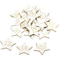 Stjärnor i trä 24 delar - till adventskalender - 3,5 cm