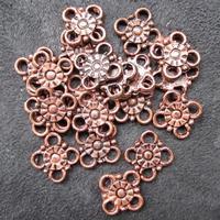Smykkedel - mellemdel i kobber - blomst, 14mm, 20 stk