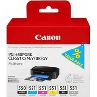 Paket 6st Bläckpatroner: 1st Canon PGI-550 + 5st Canon CLI-551 (6496B005) (inkl