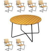 Grythyttan 9A 120cm Table inkl. A2 6 seat Armchair Matgrupp, 1 Bord inkl. 6 Stolar