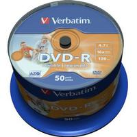 Verbatim DVD-R 4.7GB 16x Spindle 50-Pack Wide Inkjet