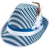 Bayernhut blau/weiß mit Federn
