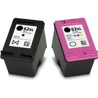 Rabatt! HP 62XL svart + färgbläckpatron 35ml kompatibel HP C2P05AE #UUS + C2P07AE #UUS