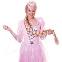 Lång Rapunzel Peruk med Fläta