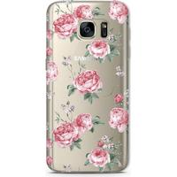 Bjornberry Clear TPU Case - Pink Roses (Galaxy S7 Edge)