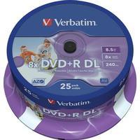 Verbatim dvd+r dl, 8x, 8,5 gb/240 min, 25-pack spindel, azo, pri