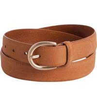 Pieces Leather sewn belt - Brown/cognac