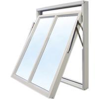 Effektfönster Vridfönster med bågpost - 3-glas - Aluminium - U-värde: 1,1 12x11 Frostat glas Spaltventil vit