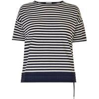 MONCLER Stripe Drawstring T Shirt Navy/White