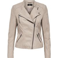 Only Leather Look Jacket - Grey/Pure Cashmere