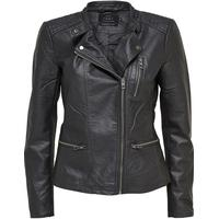 Only Leather Look Jacket Grey/Phantom