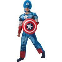 Rubies Captain America DeLuxe Dräkt med Huva & Sköld