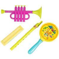 4 - Musikinstrumenter - Trumpet, Munspel, Flöjt och Tamburin
