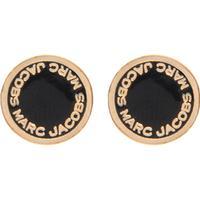 Marc Jacobs Logo Disc Black/Gold Brass Earrings