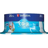 Verbatim CD-R 700MB 52x Spindle 25-Pack Wide Inkjet