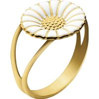 Georg Jensen Daisy Silver Gold Plated Ring w. White Enamel (3557400)