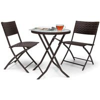 Blumfeldt Before Sunrise 3 delar LED Rotting Bistro Set Bord + 2 Stolar Brun