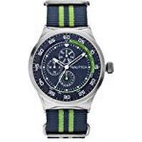 Nautica NST 17 Men's Quartz Watch with Blue Dial Chronograph Display and Multi-Colour Nylon Strap A14666G