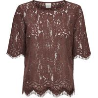 Only Lace 3/4 Sleeved Blouse Brown/Deep Mahogany (15134016)