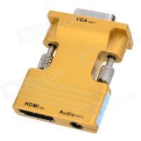 Consumer Electronics H78 HDMI Female to VGA Male Audio Convertor w/ 3.5mm Jack - Golden