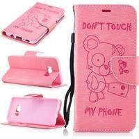 "Plånboksfodral ""Don't Touch-nalle"" för Samsung Galaxy S8 - rosa"