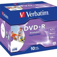 Verbatim DVD+R 4.7GB 16x Jewelcase 10-Pack Wide Inkjet