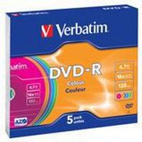 Verbatim DVD-R Colour 4.7GB 16x Slimcase 5-Pack
