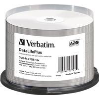 Verbatim DVD-R No ID Brand 4.7GB 16x Spindle 50-Pack Wide Inkjet
