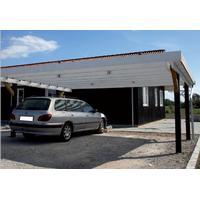Carport dobbelt 6,00x4,80 m car01du uden midterstolpe fladt tag