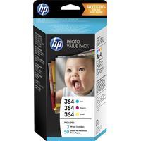 Multi Pack! HP 364 C / M / Y bläckpatron 9 ml original + 50 st. fotopapper T9D88EE