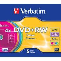 Verbatim DVD+RW Colour 4.7GB 4x Slimcase 5-Pack