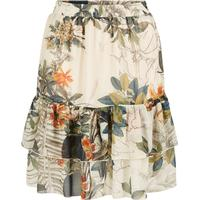 Y.A.S Floral Tiered Lined Mini Skirt Green/Seagrass (26007882)