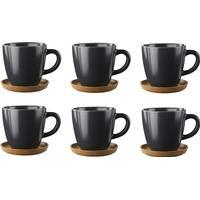 Höganäs Keramik Höganäs kaffekrus og underkop 6 stk grafitgrå mat