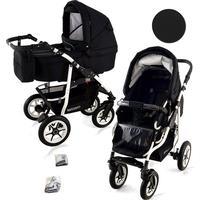 Bavario White 2 in 1 barnvagn (Välj färg:: Svart)