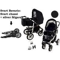 Bavario White 2 in 1 barnvagn (Välj färg:: Svart/Svart)