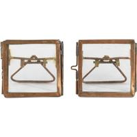 Nkuku Tiny Danta Antique Copper Photo Frame Set of Two 5x5cm - Burnt Orange