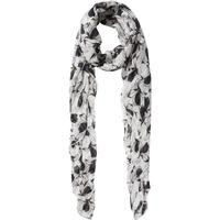 Pieces Long Patterned Scarf White/Whitecap Gray (17082448)