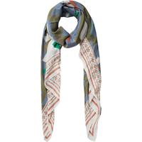 Pieces Long Printed Scarf Green/Deep Lichen Green (17082958)