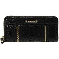 Plånbok Michael Kors Moxley Zip Around Continental Python Embossed Black Leather