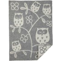 Klippan Yllefabrik Tree Owl babyfilt ull light grey, Klippan Yllefabrik