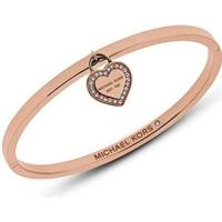 Michael Kors Logo Stainless Steel Rose Gold Plated Bracelet w. Transparent Cubic Zirconium (MKJ5039791)