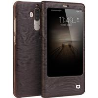 Qialino Lizard & Grid Pattern Magnetic Leather Window View Case (Mate 9)
