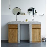 Komplet badmiljø med 2 håndvaske - Massiv teaktræ/Terrazzo
