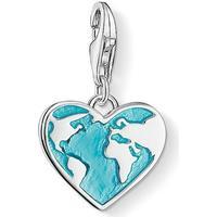 Thomas Sabo Heart Globe Silver Charm w. Turquoise Enamel - 2.3cm (1429-007-17)