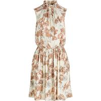 Y.A.S High Neck Sleeveless Flora Printed Mini Dress Beige/Oatmeal (26006694)