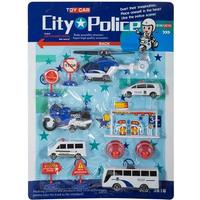 Set med 12 bilar, inkl. polis och helikopter